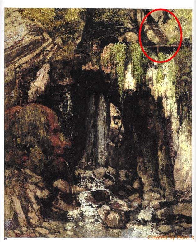 La Caverne des Géants de Courbet avec l'échelle destinée aux visites des gorges