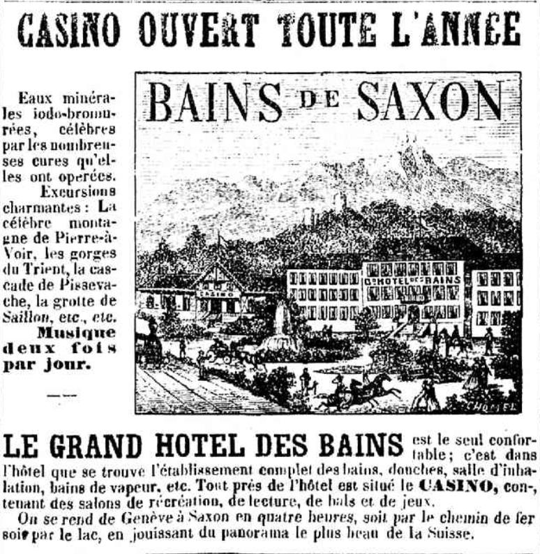Publicité des Bains de Saxon avec excursion à Saillon