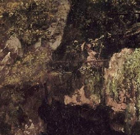 La dame à l'ombrelle, détail de la Caverne des Géants de Courbet