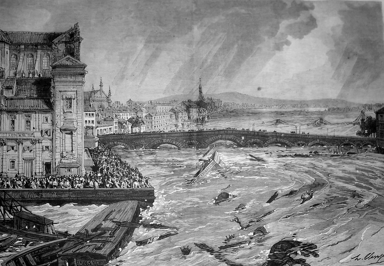 Inondations à Toulouse de la Garonne en 1875
