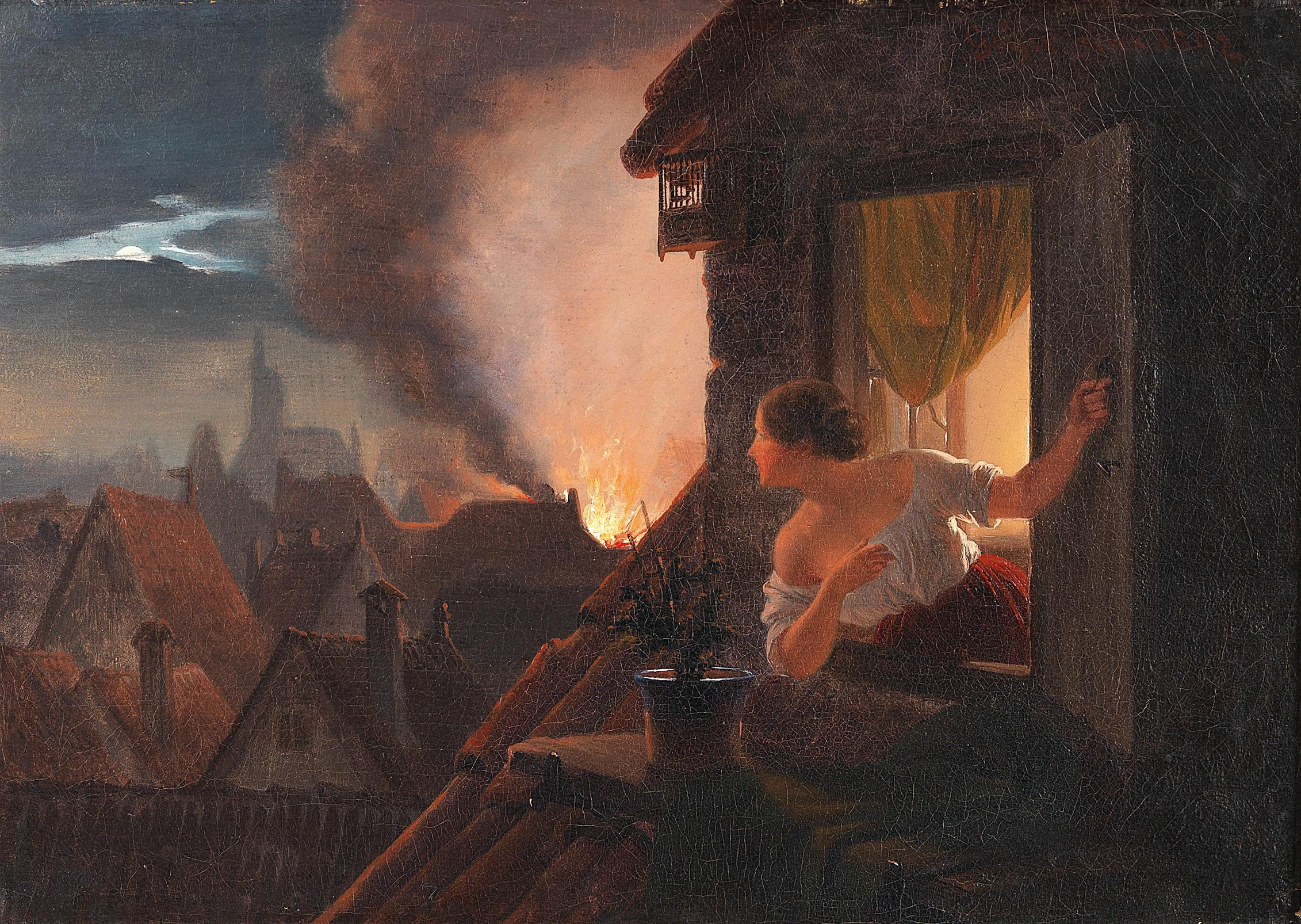 Johann Geyer, Ein Haus brennt, 1842
