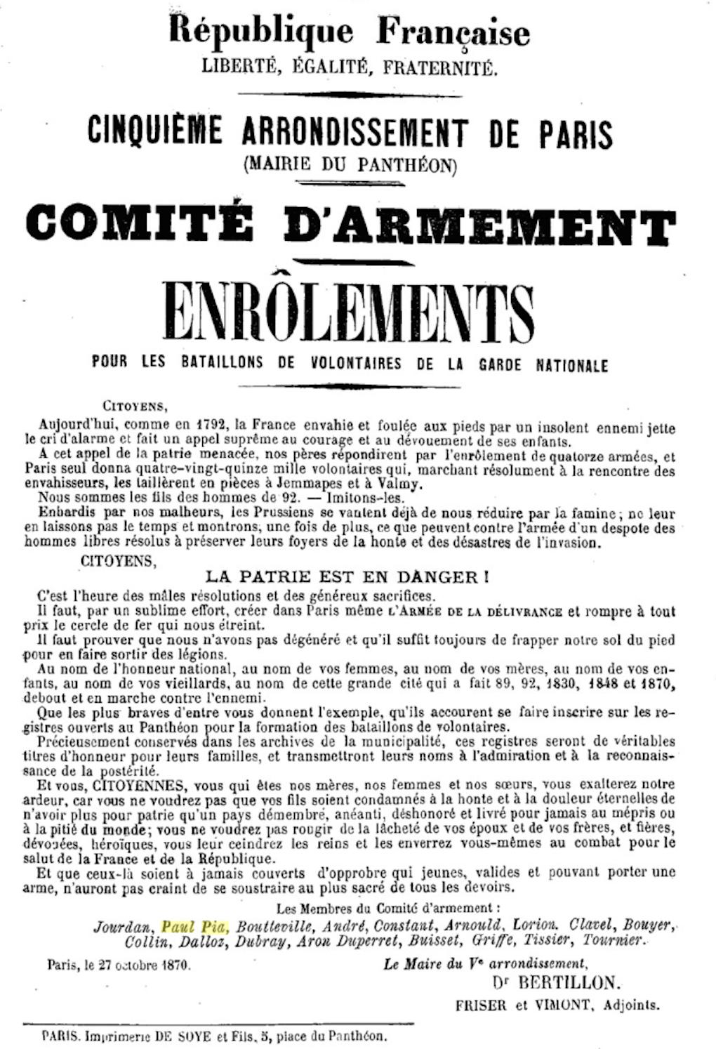 Affiche du Comité d'Armement du Cinquième Arrondissement (Panthéon) de Paris / 27 octobre 1870