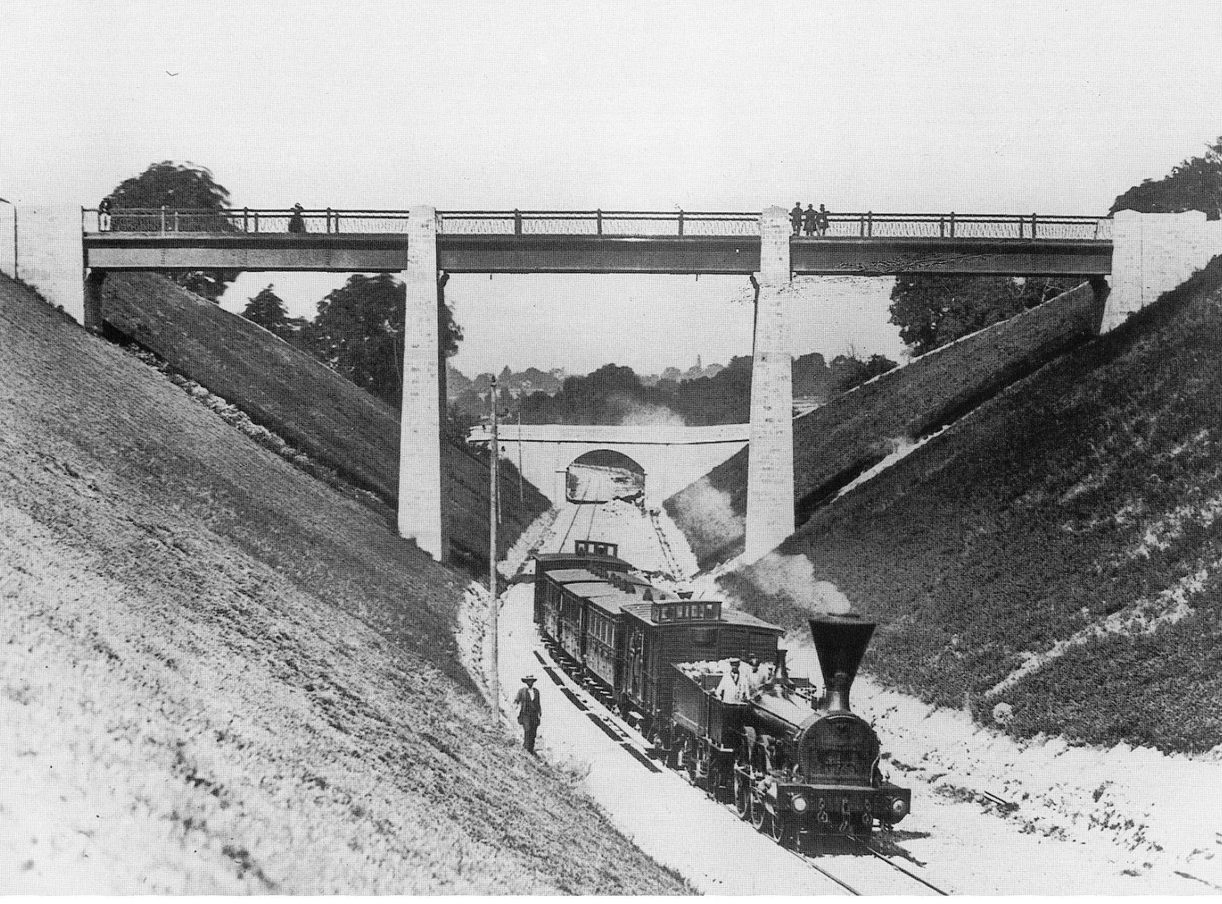 Train de la Société des Chemins de Fer de la Suisse Occidentale entre Lausanne et Renens, vers 1856