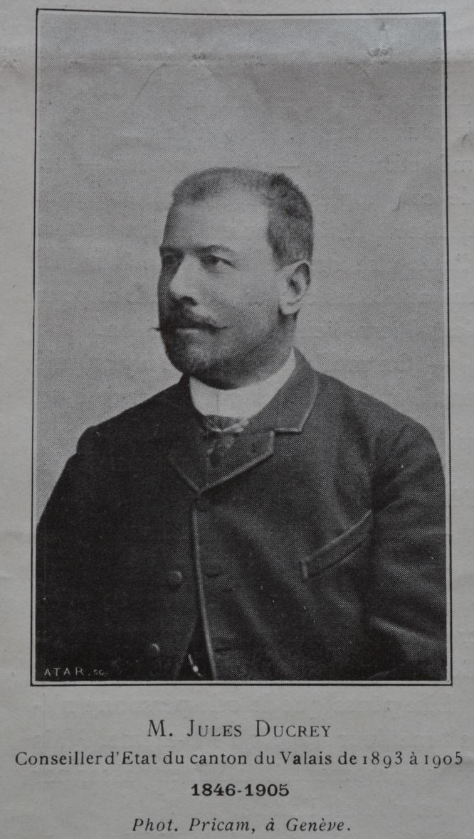 Jules Ducrey (1846-1905), Conseiller d'Etat du Canton du Valais de 1893 à 1905, Photographie Pricam Genève, La Patrie Suisse 1905